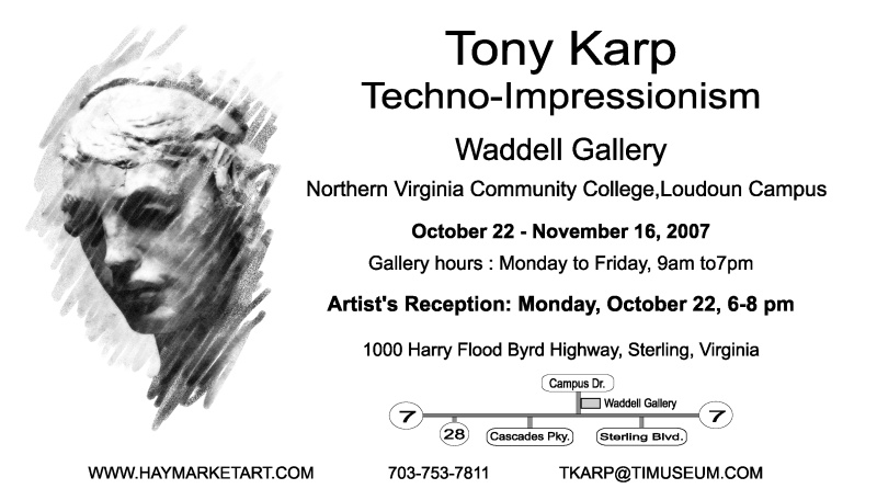 Ad for exhibit at Waddel Art Gallery - Announcing a show at the Waddell Gallery - NVCC - by Tony Karp - Techno-Impressionist Museum - Techno-Impressionism