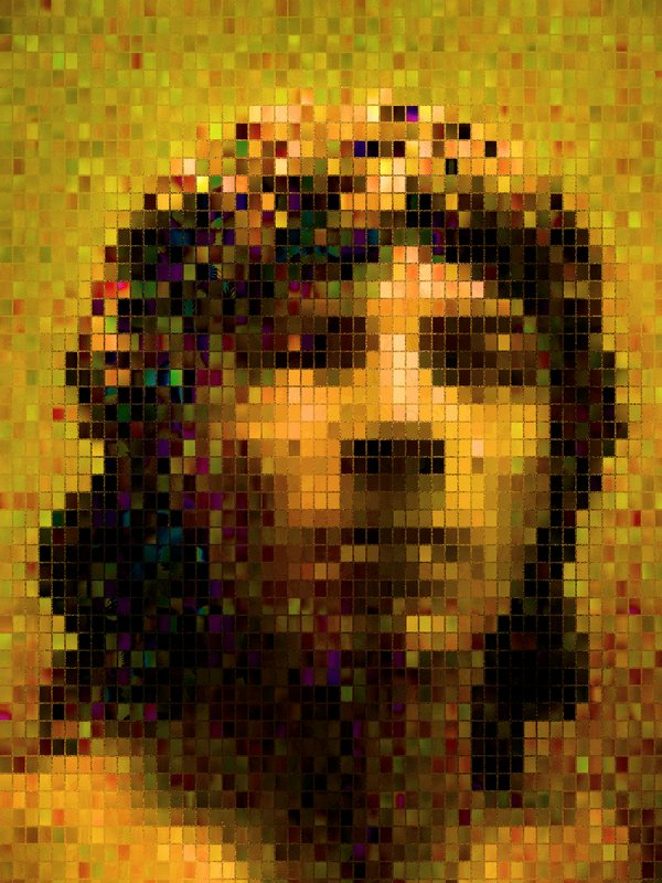 - A portrait  made from colored tiles</b></Center><p></p> - by Tony Karp - Techno-Impressionist Museum - Techno-Impressionism