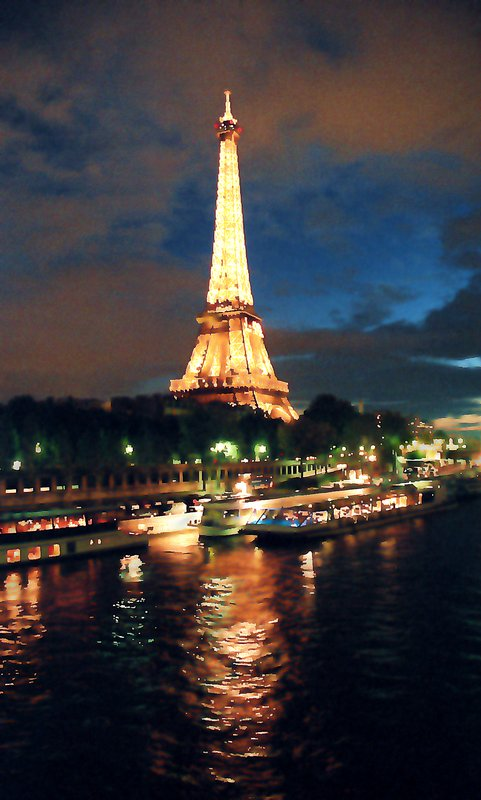- <center>Night on the Seine - by Tony Karp - Techno-Impressionist Museum - Techno-Impressionism