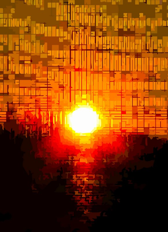 - Sunset in rhythmic beats and squares-cropped</b></Center><p></p> - by Tony Karp - Techno-Impressionist Museum - Techno-Impressionism